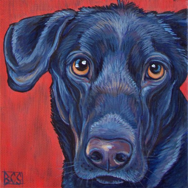 "Emma the Black Lab Mixed Breed Dog Custom Pet Portrait Painting in Acrylic Paint on 6"" x 6"" Canvas from Pet Portraits by Bethany. #mixedbreed #blacklab #labrador #blacklabs #labradors #petportraits #petportrait #custmopetportrait #custompetportraits #petart"