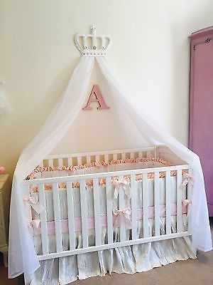 Princess girls white baby pink cot bed crown canopy voile for Nursery crown canopy