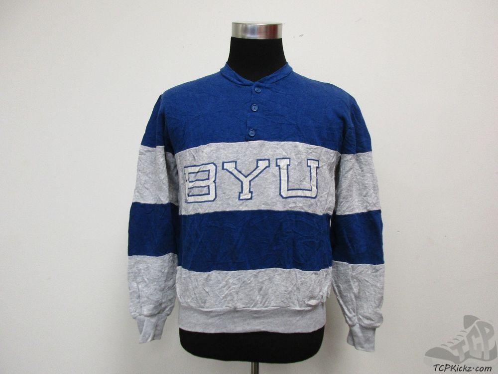 Vtg 70s 80s 90s Nutmeg BYU Brigham Young Cougars 3 Button Sweatshirt sz M Medium #Nutmeg #BYUCougars