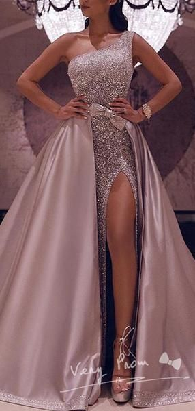 $229 · Shinny A-Line One Shoulder Sequined Detachable Split Side Long Prom Dresses With Bowknot,VPPD1159 The dresses are fully lined, 4 bones in the bodice, chest pad in the bust, lace up back or zipper back…