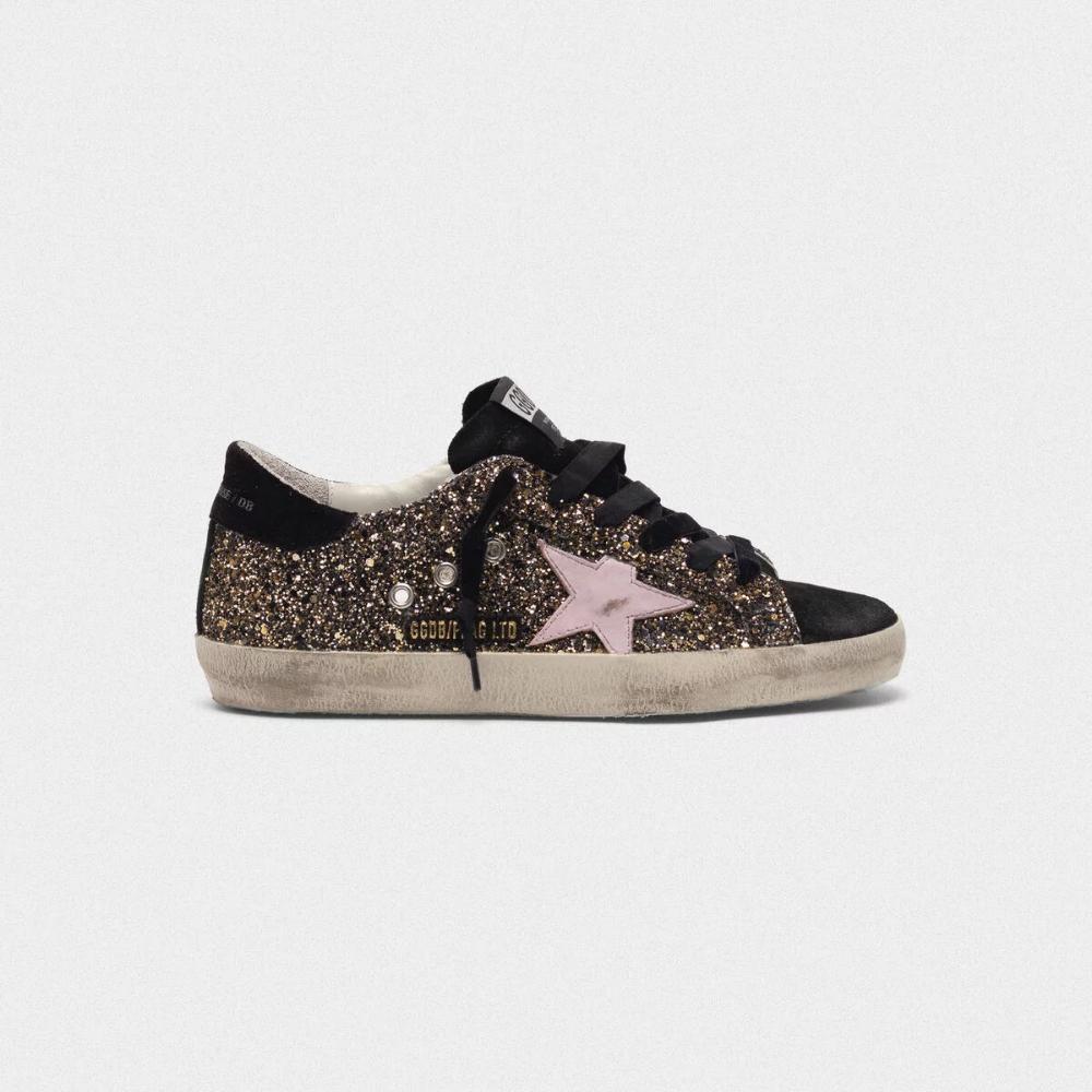 Sneakers Super-Star pailletées avec étoile en cuir rose