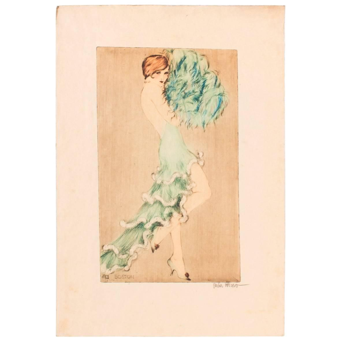 Etching by Vala Moro, Vienna Depicting an Art Deco Dancing Nude ...