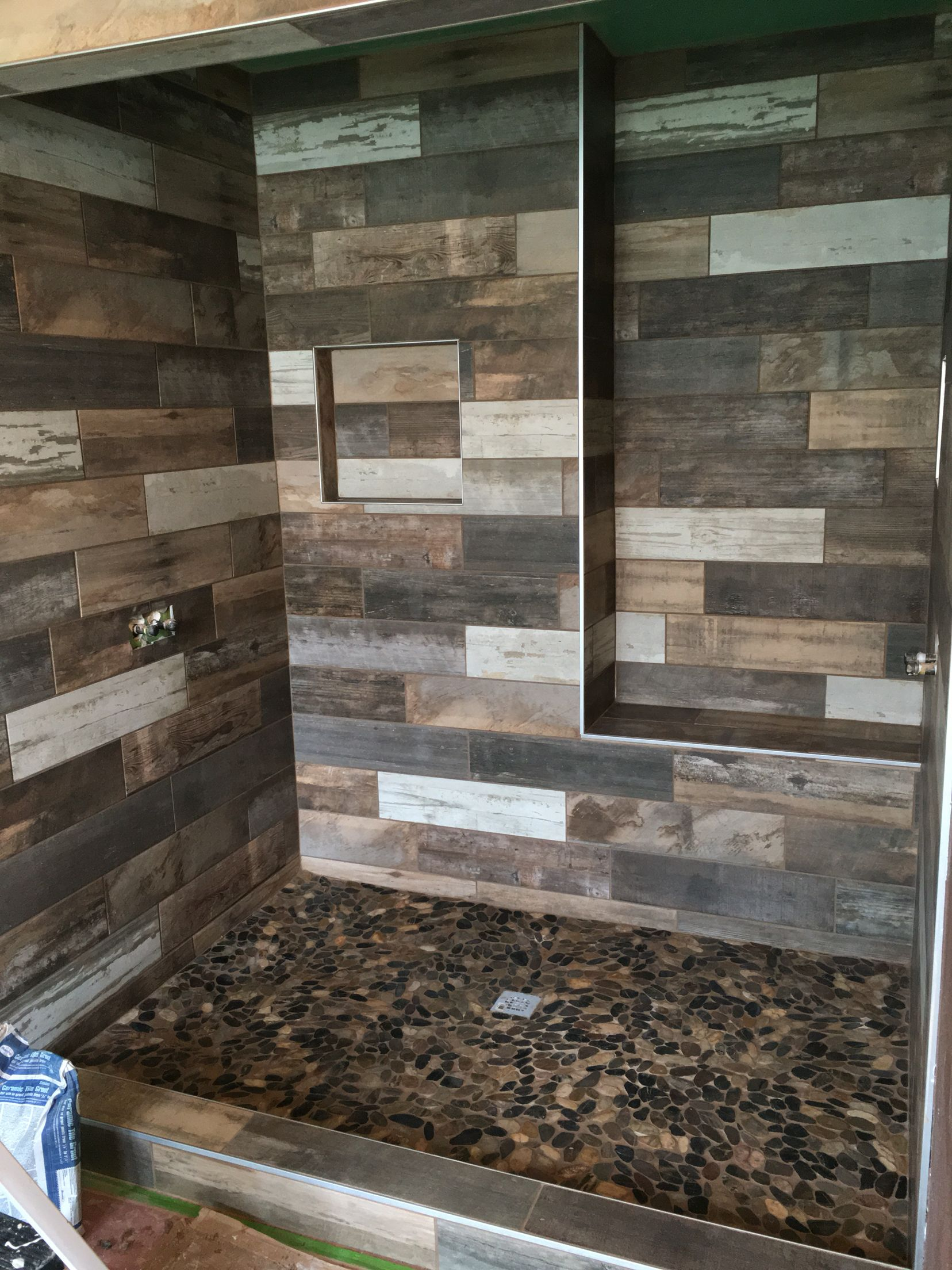 Walk In Shower With Wood Look Porcelain Tile Rustic Bathroom