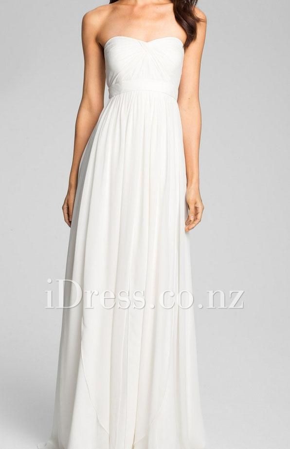 cream strapless a-line floor length chiffon simple formal dress