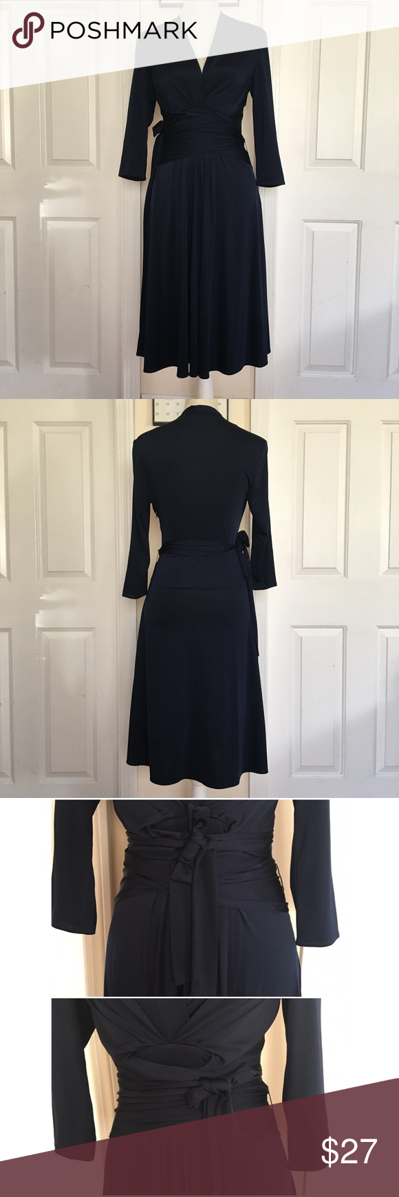 Eliza J Navy Wrap Dress A classy wrap dress that can either dress up to a party/event or dress it down for everyday wear. Worn once. Size 4. Eliza J Dresses Long Sleeve