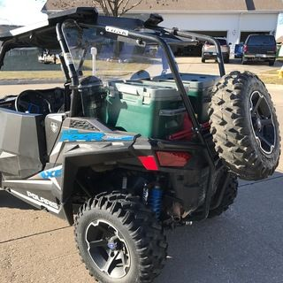 The Tusk Rzr Rear Bumper Cargo Rack And Spare Tire Carrier Is