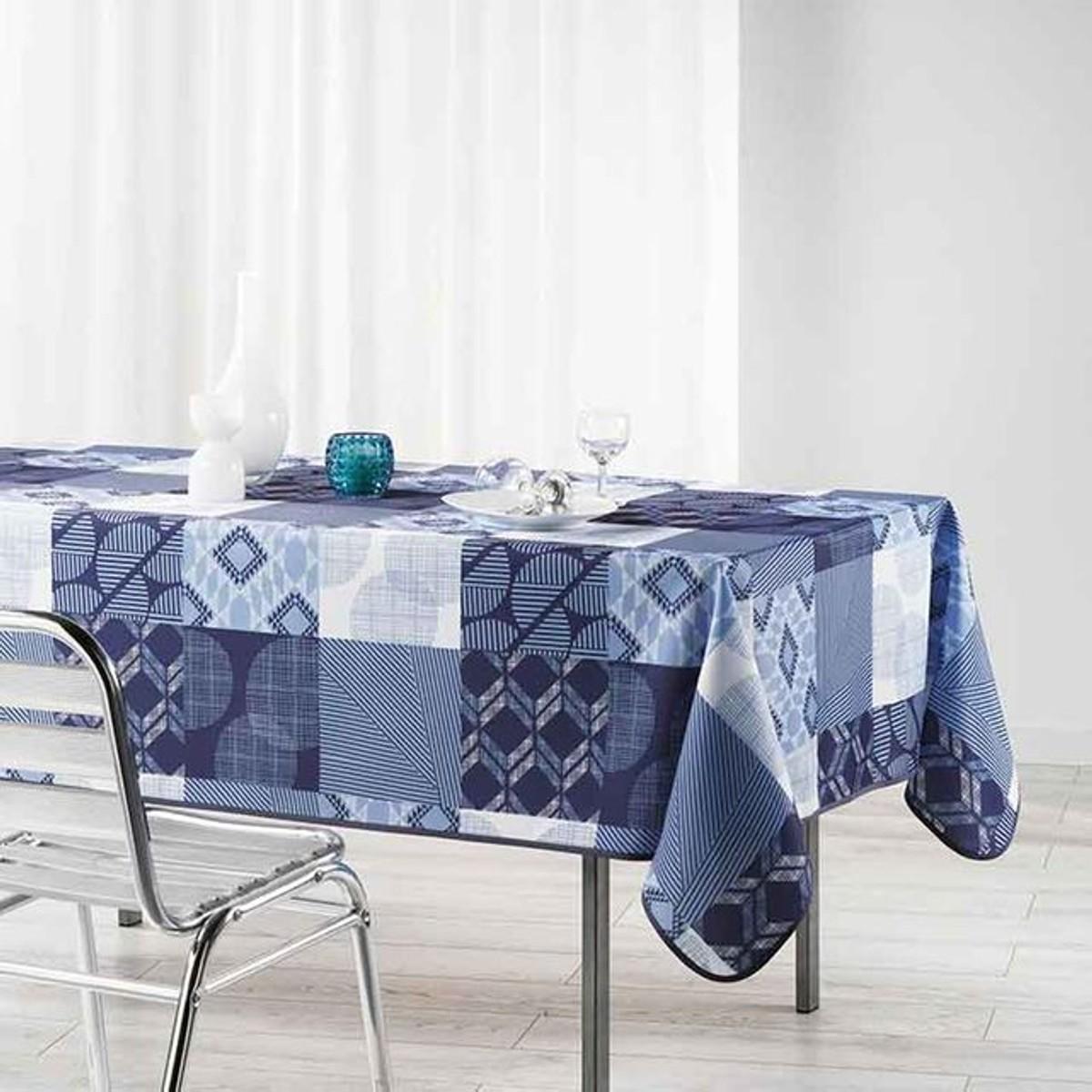 Nappe Rectangulaire Carreaux Decoration Maison Nappe Et Teinte De Bleu