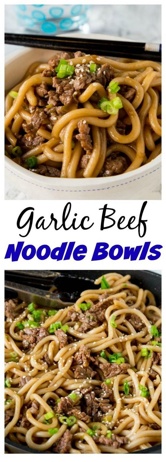 Garlic Beef Noodle Bowls | Family Favourite Recipes #beefsteakrecipe