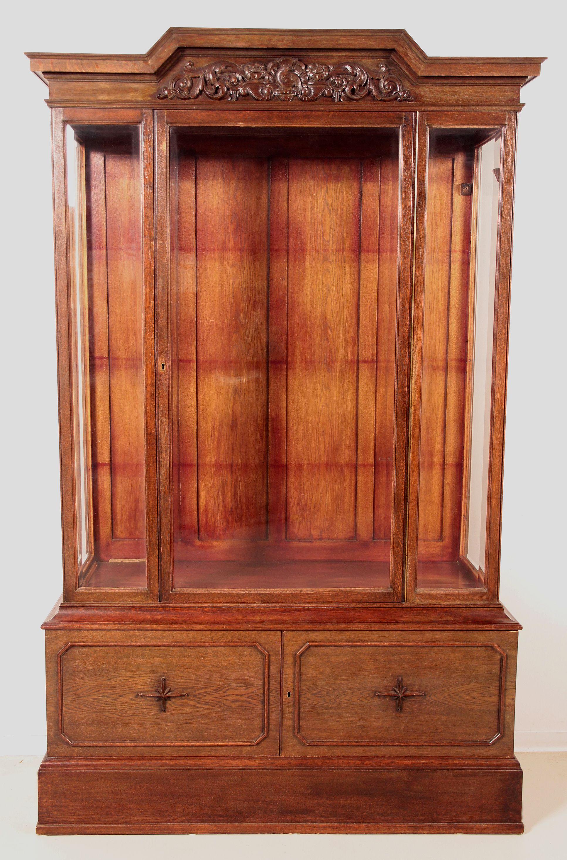 Dreiseitig Verglaster Bücherschrank Epoche 1910 Holzart
