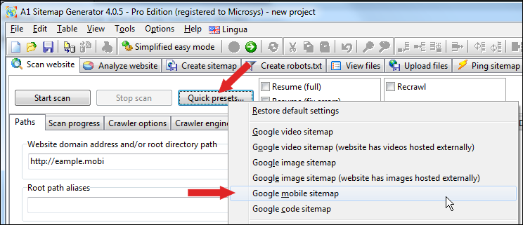 how to create mobile sitemaps with a1 sitemap generator website