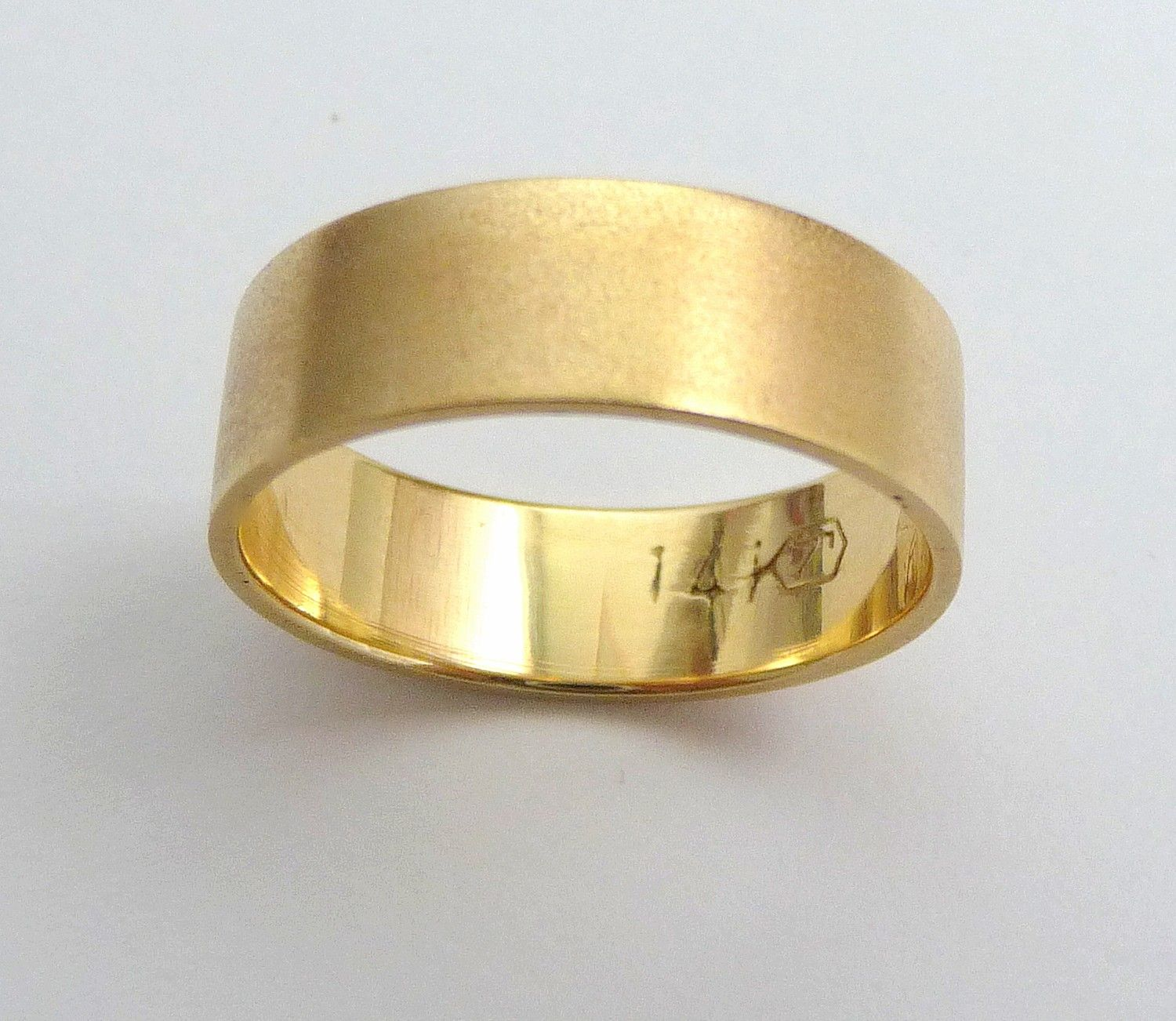 gold wedding band men wedding ring flat with sandblast finish classic wide - Gold Wedding Rings For Men