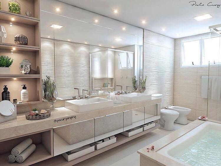Decorandoreal Banheiro Com Nichos Revestimento 3d E Detalhes Como Iluminacao Marcenaria Com Espelhos E Itens De Decoracao Que Banos De Lujo