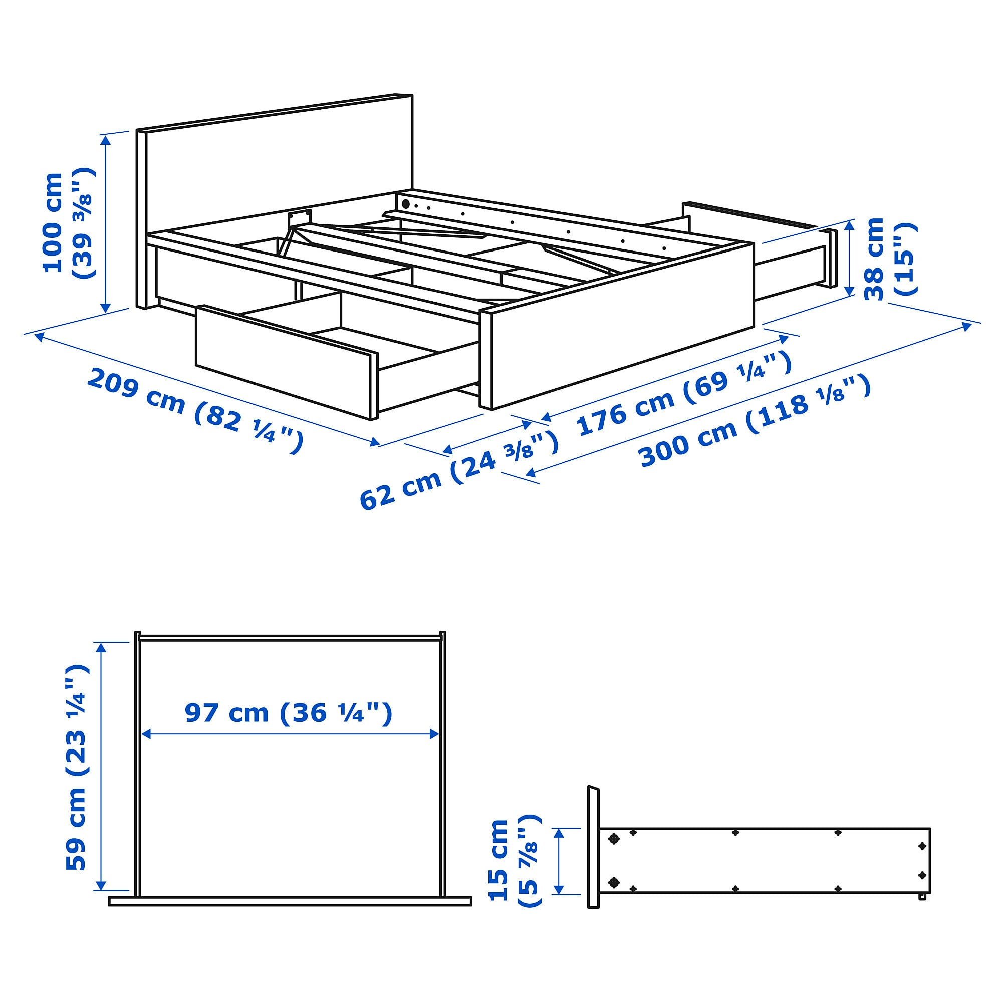 Malm Bettgestell Hoch Mit 4 Schubladen Schwarzbraun Luroy Malm Bett Bettgestell Und Verstellbare Betten