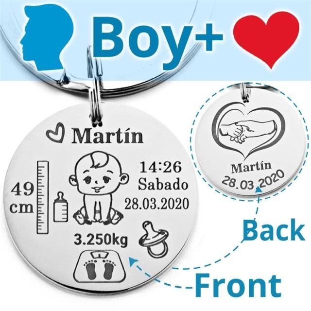 Lovely Personalized Baby Boys Girls Keychain  Name Birth Weight Height For Newborn Commemorate New Mom Dad Gift Keyring P026_C - Boy and Heart / Commonly / Commonly