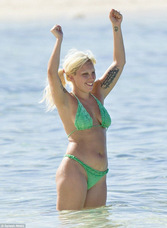 042724db79a49 Lady GaGa, who's really pretty unrecognizable when she's not all GaGa'd up,  wears a crochet bikini in the Bahamas