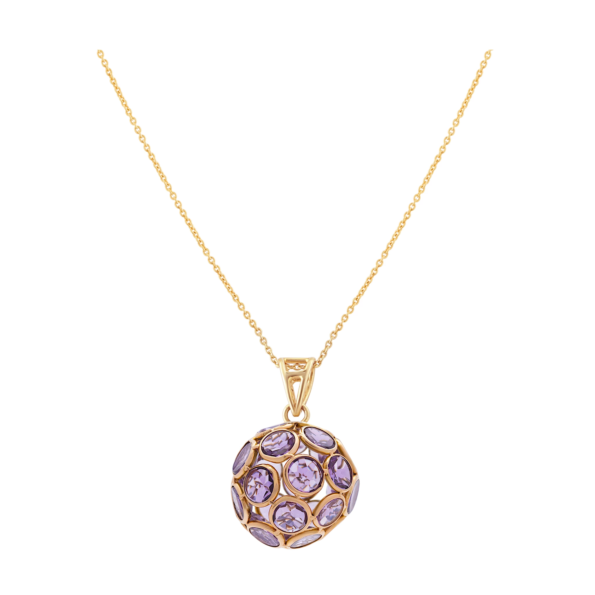 Photo of Gemstone Origami Ball Pendant in 18k Yellow Gold
