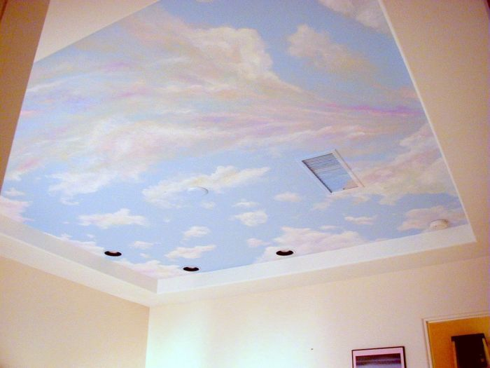 Sunset cloud ceiling mural idea as seen facebook at for Ceiling cloud mural