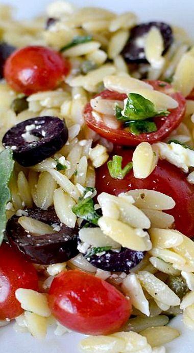 Mediterranean Orzo Salad, great for pot lucks, bridal showers, or graduation parties.  vegan quinoa