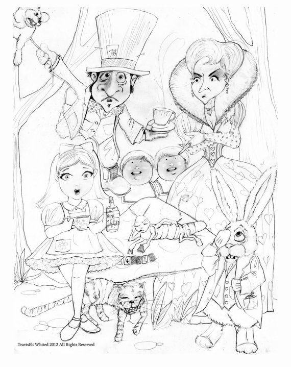 adult alice in wonderland trippy coloring pages - Trippy Coloring Book Pages