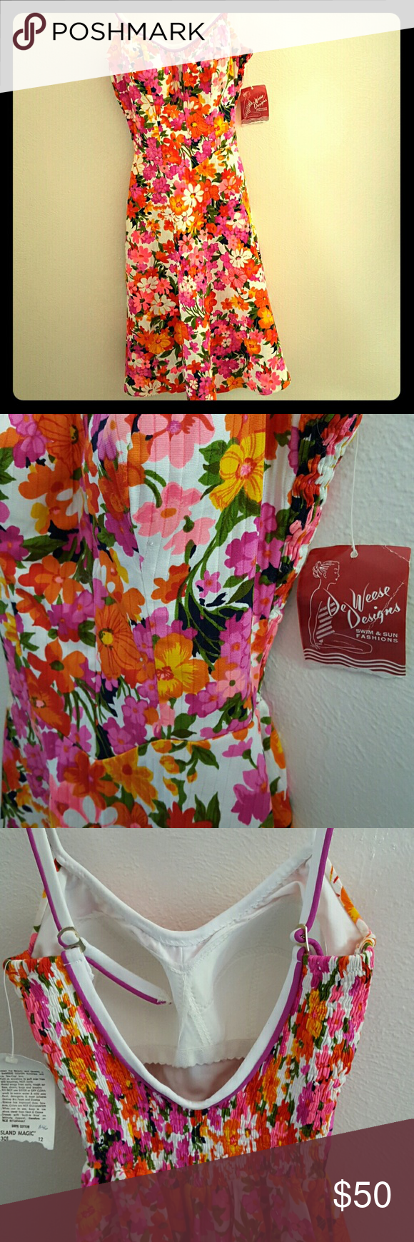 Vintage 'swimsuit' dress READ: vintage sizing shows this being closet to modern size 4! Tag reads 14/34  Made entirely of thick waterproof material, a swimsuit dress with no bottom. Maybe conventional swimsuits are not something you can wear anymore, or you want a universal poolside piece unlike anything I have seen. Really fun.   Elastic in VERY good condition considering it's age. Some small pinprick marks that are hard to see due to the pattern. Original tag. New old stock. deweese Swim…