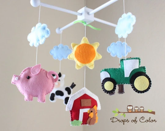 Farm Mobile, Baby Crib Mobile, Old MacDonald Farm Nursery Room Decor, Animals Cow Pig