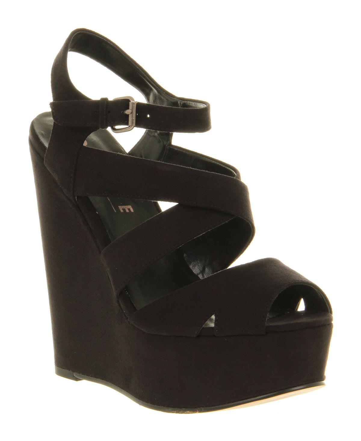 Office Wah Wah Wedge Black Microfibre - High Heels | shoes I want ...