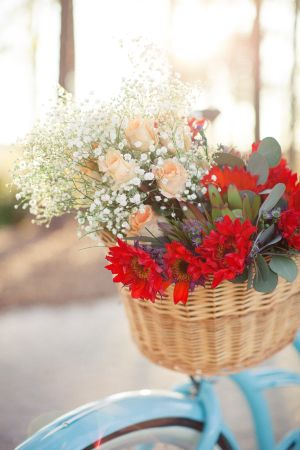 Wicker Bicycle Basket With Flowers