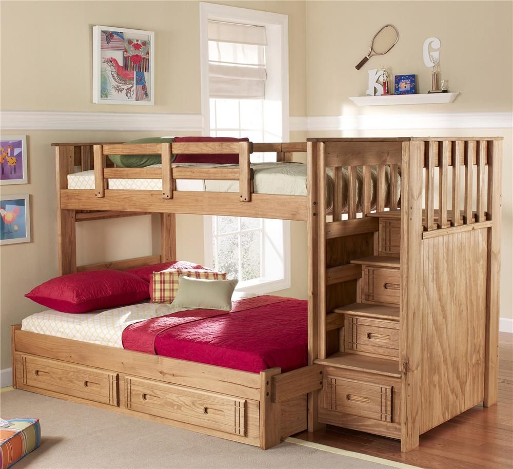 Woody Creek Twin/Full Front Loading Stairway Bunk by