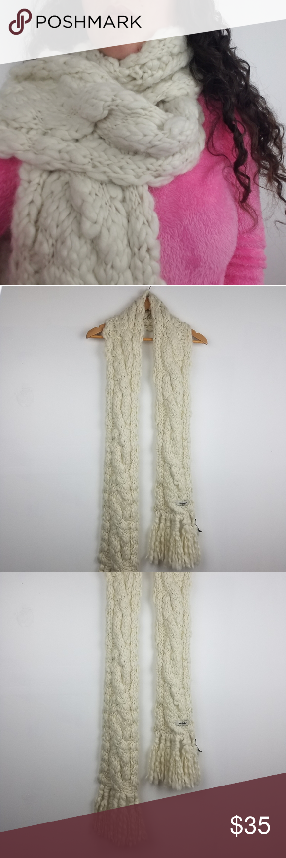 Photo of Neu! Abercrombie and Fitch | Chunky Knit Scarf Große, klobige, gestrickte, cremefarbene Narbe …