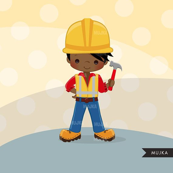 Construction Clipart Little Boy Contractor Graphics Hard Etsy Clip Art Planner Stickers Construction For Kids