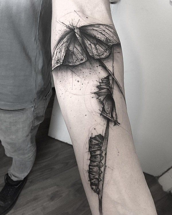 fba85684b55a3 Caterpillars and butterfly sleeve tattoo - 100+ Amazing Butterfly Tattoo  Designs