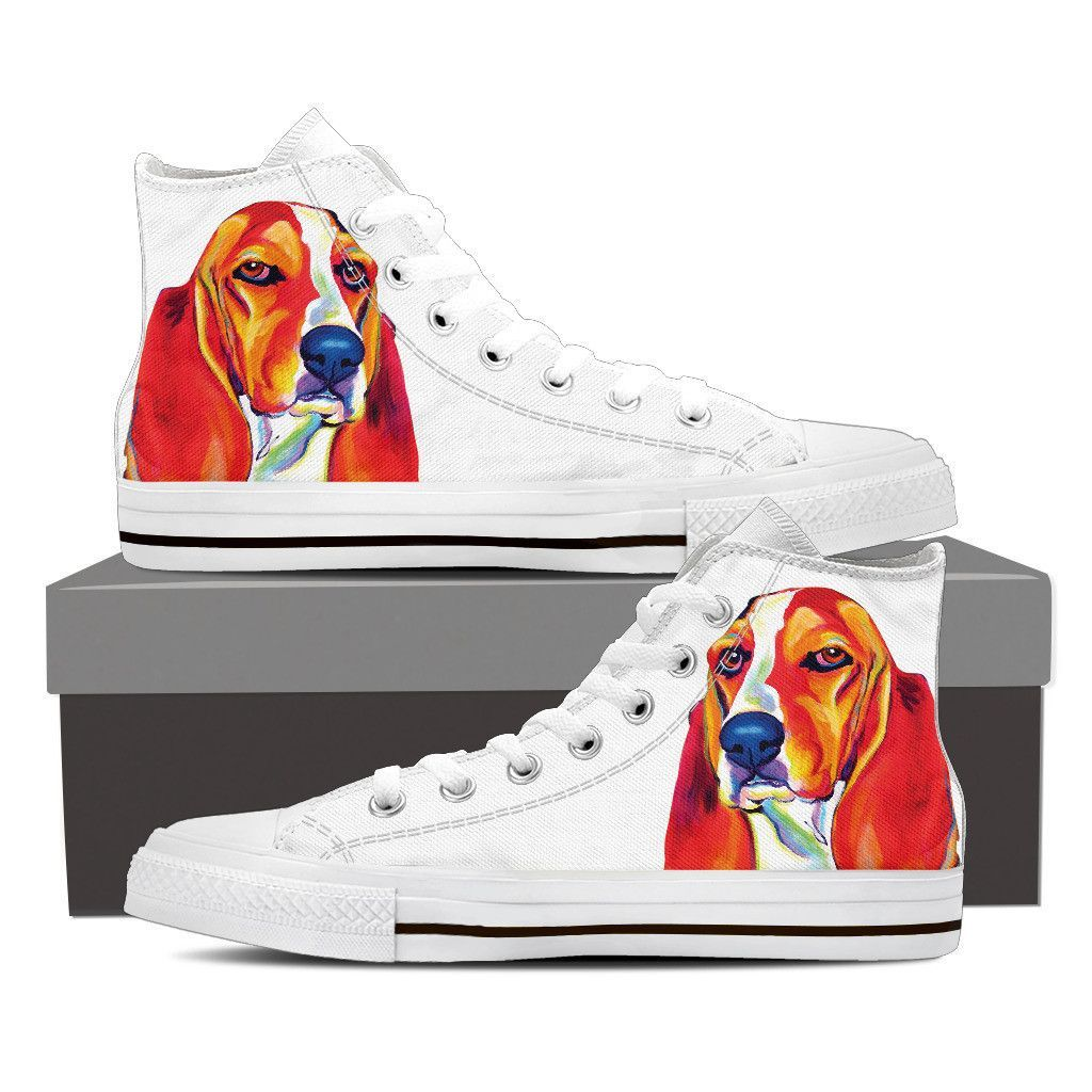 Basset Hound Maple Women High Top Shoes White Top