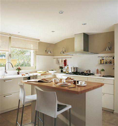 Desayuna en la cocina 10 cocinas con barra · ElMueble · Cocinas - Cocinas Integrales Blancas