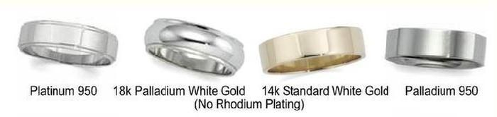 Platinum 18k White Gold 14k Palladium 950