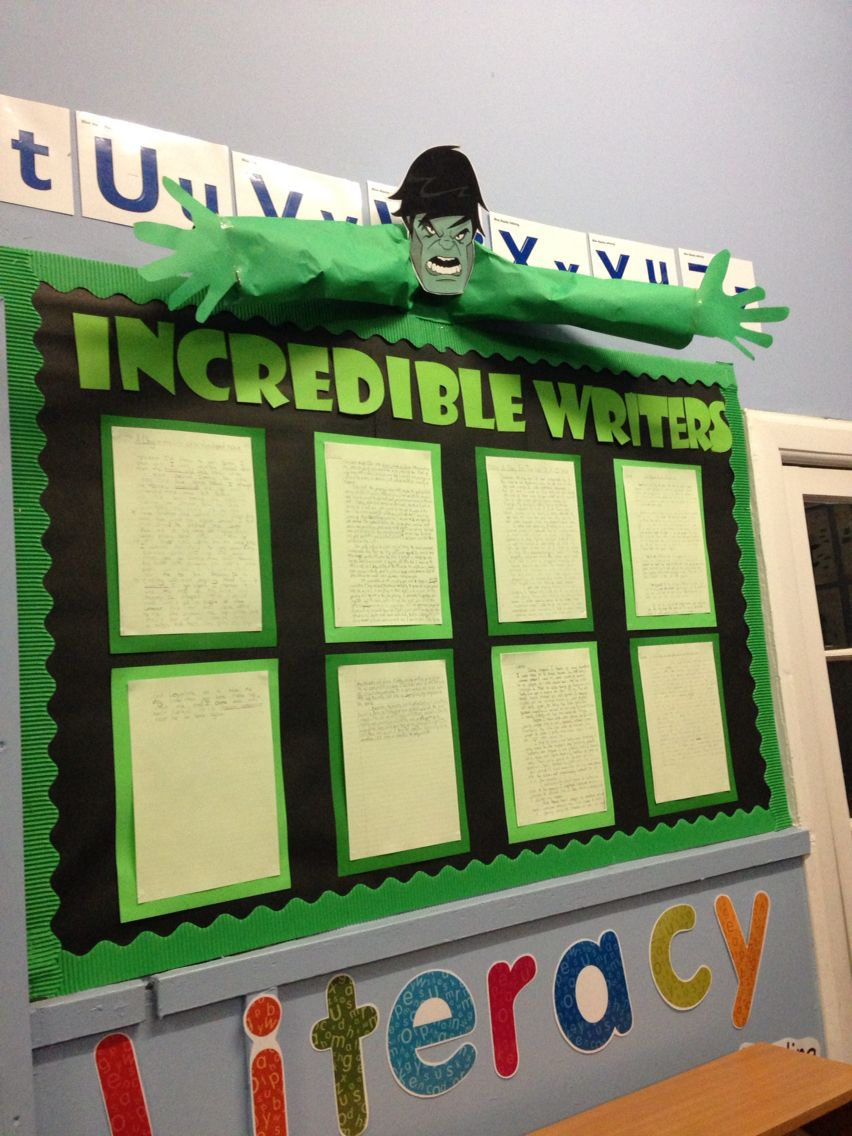 Classroom Decoration Ideas For Primary School ~ My take on the incredible hulk writing display