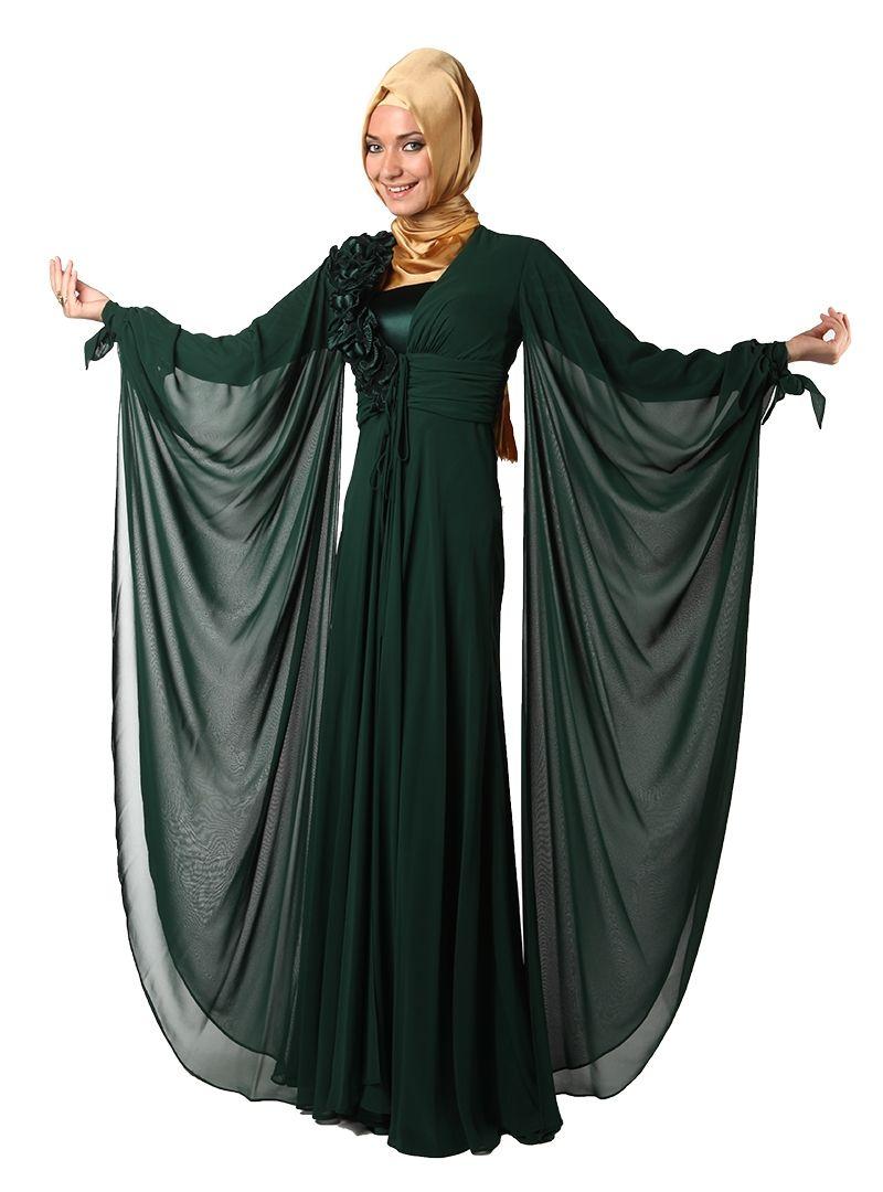Lace umbrella abaya  Yakası Fırfırlı Ve İşlemeli Abiye Elbise   Yeşil  ILMIO