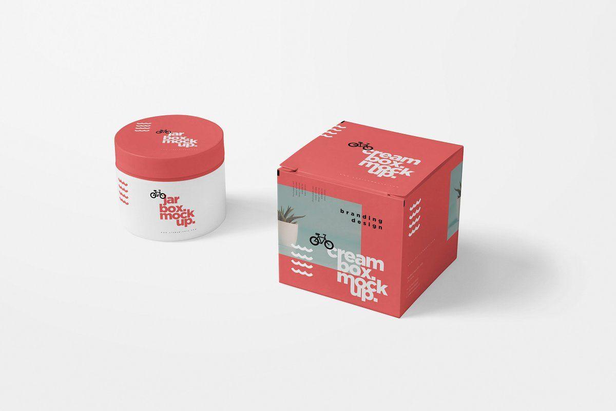 Download Cosmetic Jar Box Mockups Cosmetic Jars Box Mockup Cosmetic Packaging