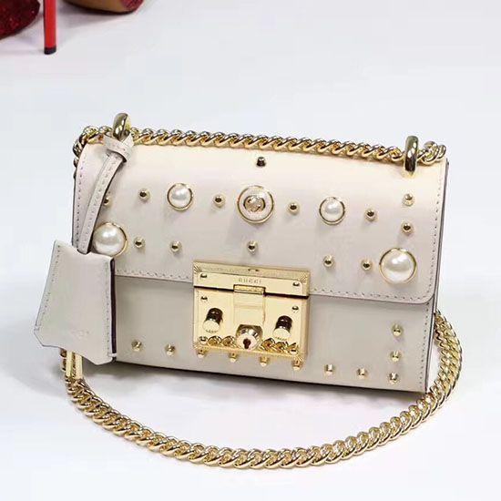 b6c03fe65ba Padlock Studded Leather Shoulder Bag White 432182