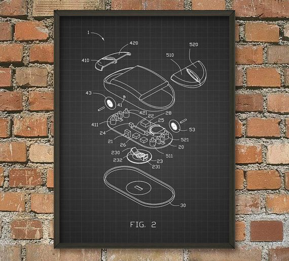 Computer Mouse Schematic Diagram Wall Art Poster Computing Wall