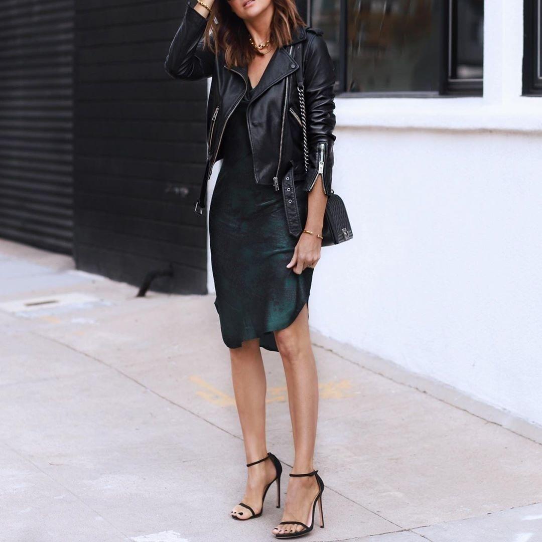 Street Style Leather Jacket Dress Leather Jacket Street Style Black Leather Dresses [ 1080 x 1080 Pixel ]