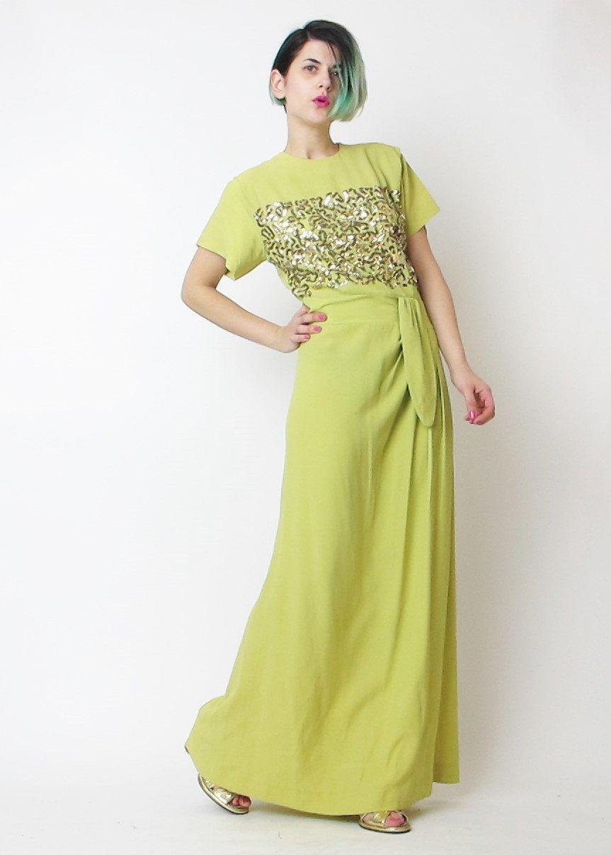 1940s Sequin Dress 1940s Evening Gown Gold Sequin Dress Crepe Etsy 1940s Evening Dresses Evening Gowns Formal Dresses [ 1208 x 863 Pixel ]