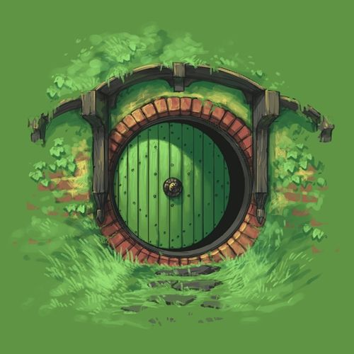 A t shirt design hobbit door middle earth doors for Porta hobbit