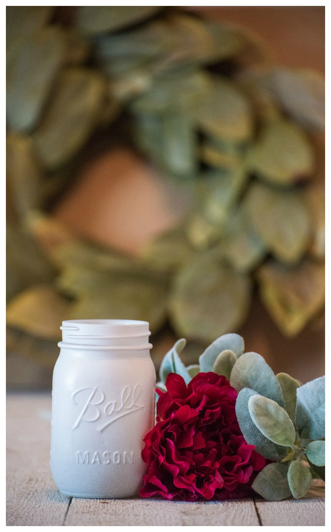 White centerpiece mason jar wedding party vase white glitter rustic