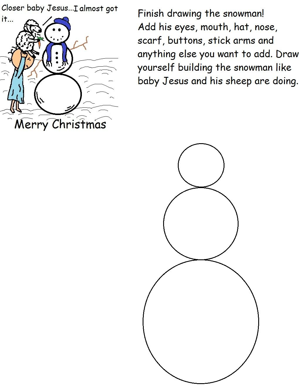Free Christmas Snowman Activity Worksheet For Preschool Kids in