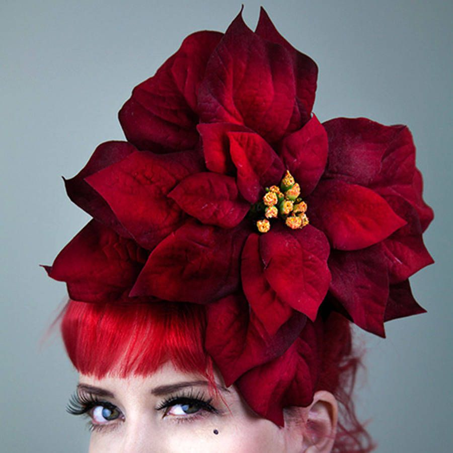 827e1aa1fd76a Large Velvet Christmas Poinsettia Fascinator
