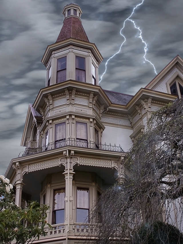 Victorian House with Lightning
