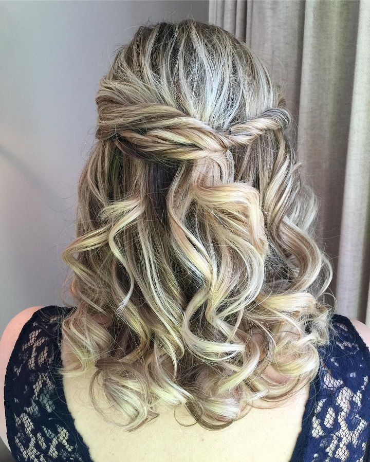 Bridesmaid Wedding Hairstyles Half Up: Partial Updo Wavy Wedding Hairstyle