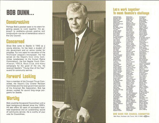 Bob Dunn campaign brochure, 1960s Brochures and Political campaign - political brochure