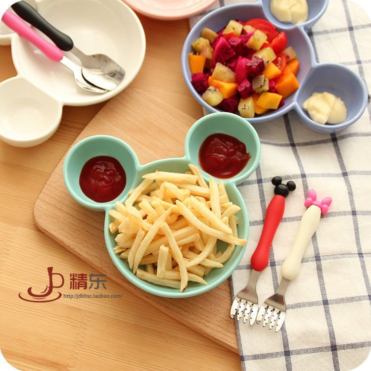 Cartoon Dinner Plate Snack Fruits Holder Fork Spoon Cute For Kids Mickey Pattern & Cartoon Dinner Plate Snack Fruits Holder Fork Spoon Cute For Kids ...