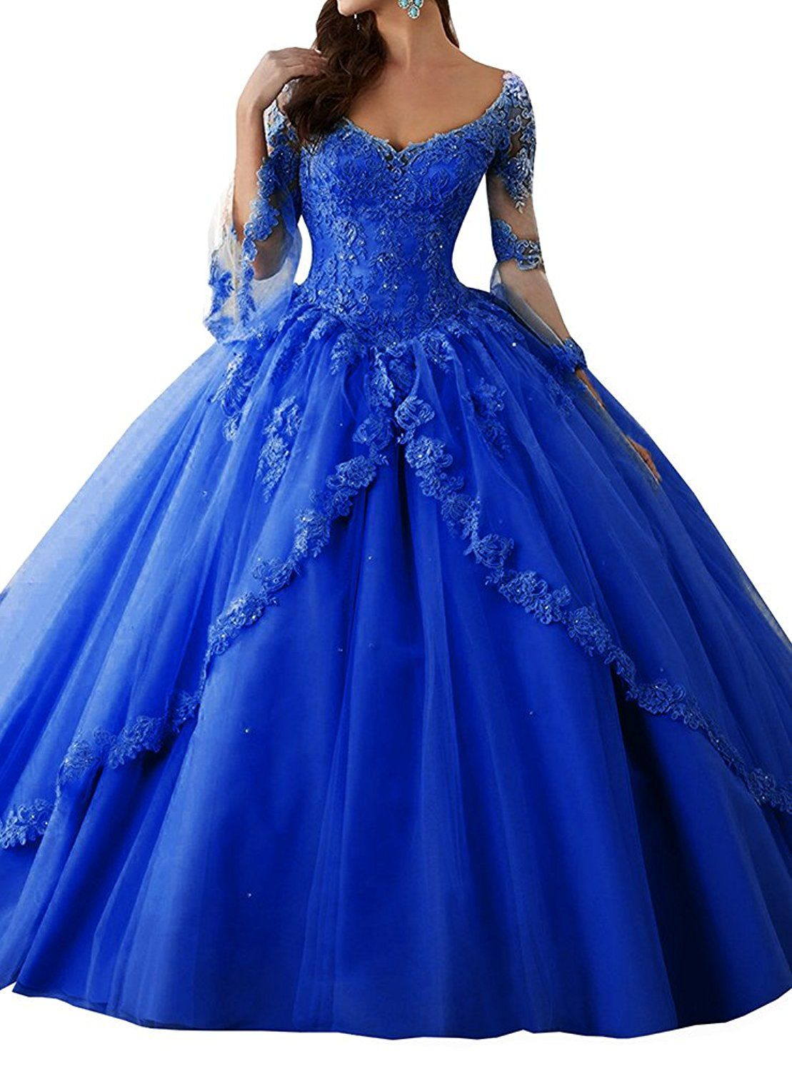 ff30990e2d2 Annadress Women s Long Sleeve Lace Quinceanera Dresses Train V-Neck Ball  Gown Royal Blue US2 at Amazon Women s Clothing store